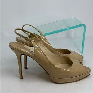 Jimmy Choo Sz 41 Patent Leather Peep Toe Heels